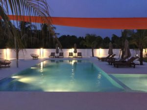 Guesthouse swimming pool at night